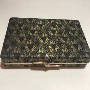 Vintage Black and Gold Jewelry Box Pink Lining